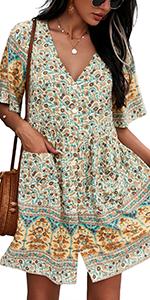 mini dress floral dress bobo dress bohemian dress casual mini dress women fashion dress cute mini