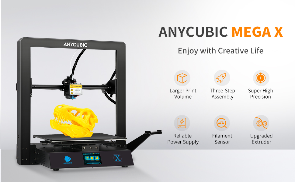 Support PLA ANYCUBIC 3D Printer MEGA X FDM 3D Printer with Resume Print and Removable UltraBase Hotbed Platform with Free 1kg PLA Filament ABS TPU,Build Size 300X300X305mm
