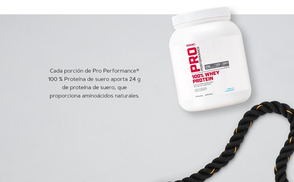 GNC Pro Performance 100% Whey Protein Powder - Vainilla, 27 porciones, apoya la masa muscular magra