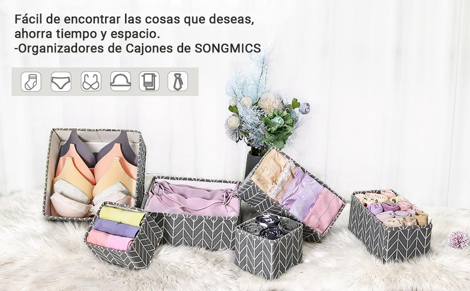 SONGMICS Organizadores de Cajones, Divisores de Vestido, Juego de ...