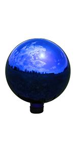blue mirrored gazing globes, set of 2