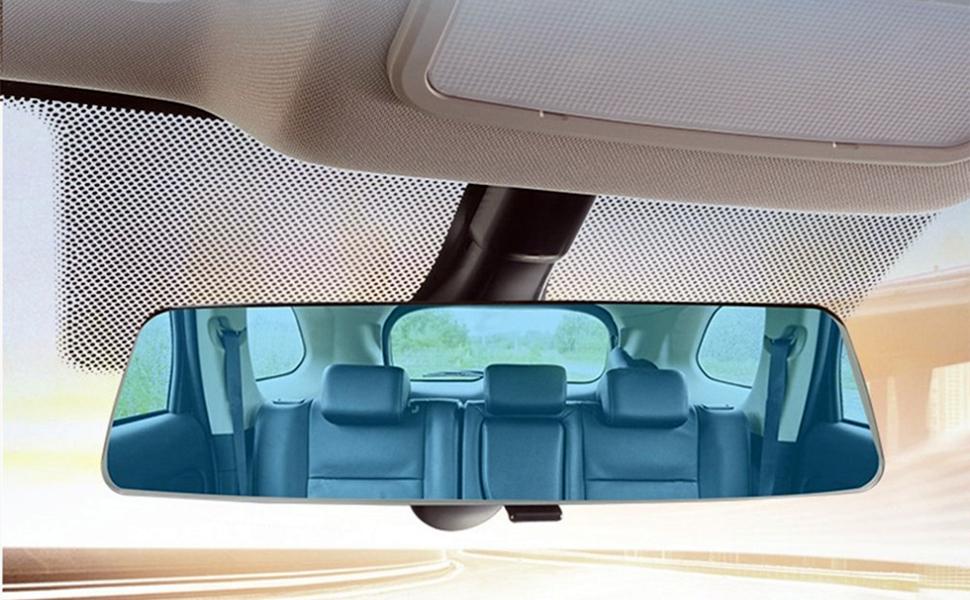 2 5d Weitwinkel Universal Auto Rückspiegel Blau Glas Panorama Zentrum Spiegel Blendschutz Frontscheibenspiegel 280mm Auto