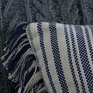Woven Fringe Decorative Boho Throw Pillow Poly Filled Striped Navy Blue White