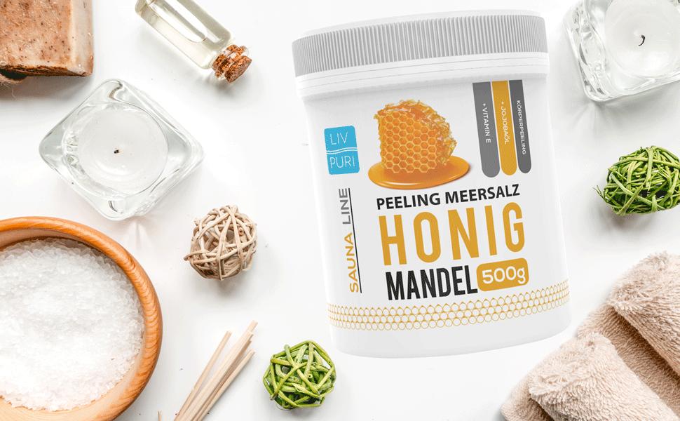 Honig Mandel Peeling Meersalz 500g Body scrub Körperpeeling Salzpeeling Hautpeeling Sauna Line