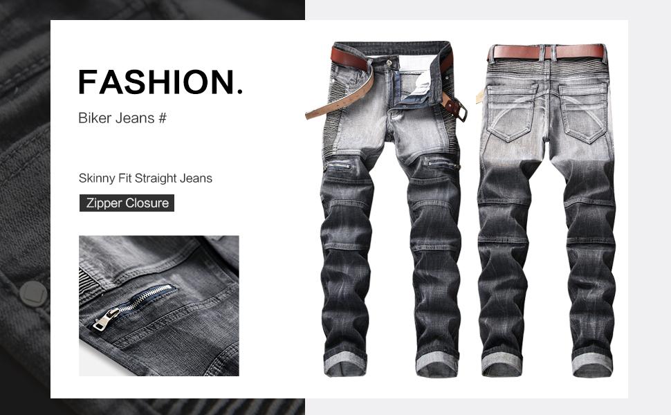 biker skinny jeans men moto slim fit ripped stretchy jogger design hip hop straight fashion grey