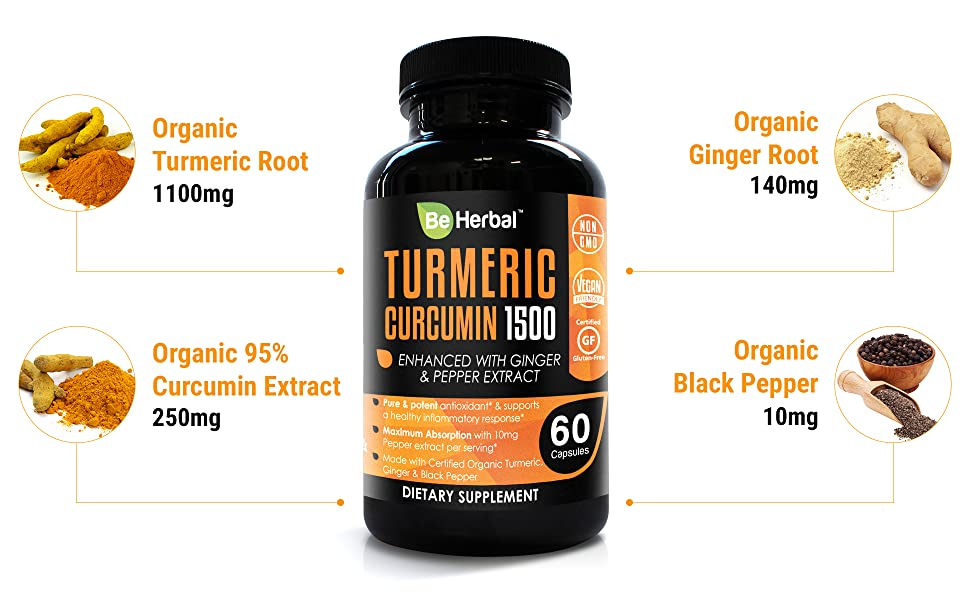 Certified Organic Turmeric Curcumin with Black Pepper and Ginger