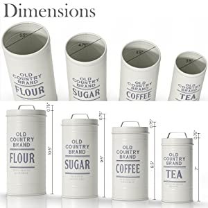 dimension photo for Kitchen Canisters with Lids Galvanized White