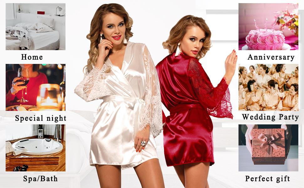 short satin kimono robe for women sexy plus size