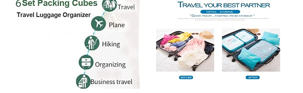 Travel Packing Cubes, Luggage Compression Pouches, Multi-Functional Storage Bag