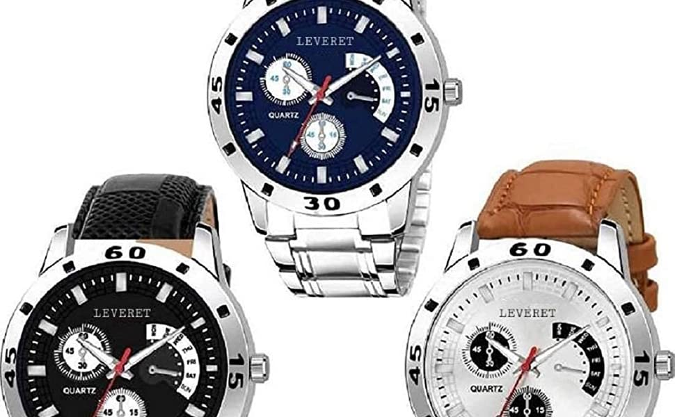 Analogue Watch Combo of 3 for Men by LEVERET