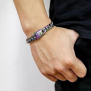 Rainbow Miami Curb Cuban Chain Bracelets