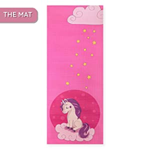 small yoga mat pink thick 5mm 0.2 unicorn unicorns girl girls women mother mom