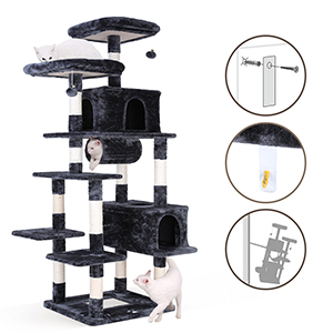 Amazon Com Potby 80 Multi Level Cat Tree Xxl Tall Play House Climber Activity Centre Tower Stand Furniture W Scratching Posts Dangling Ball Condo And Tunnel Anti Toppling Device For Kittens Large Cats Pet