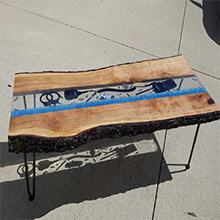 Sample of a food grade tabletop woodworking project with a crystal clear and high-gloss finish