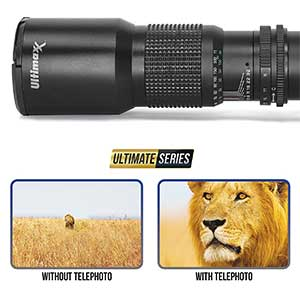 Ultimaxx 500mm/1000mm f/8 Manual Multi-Coated Preset Telephoto Lens Kit For Canon