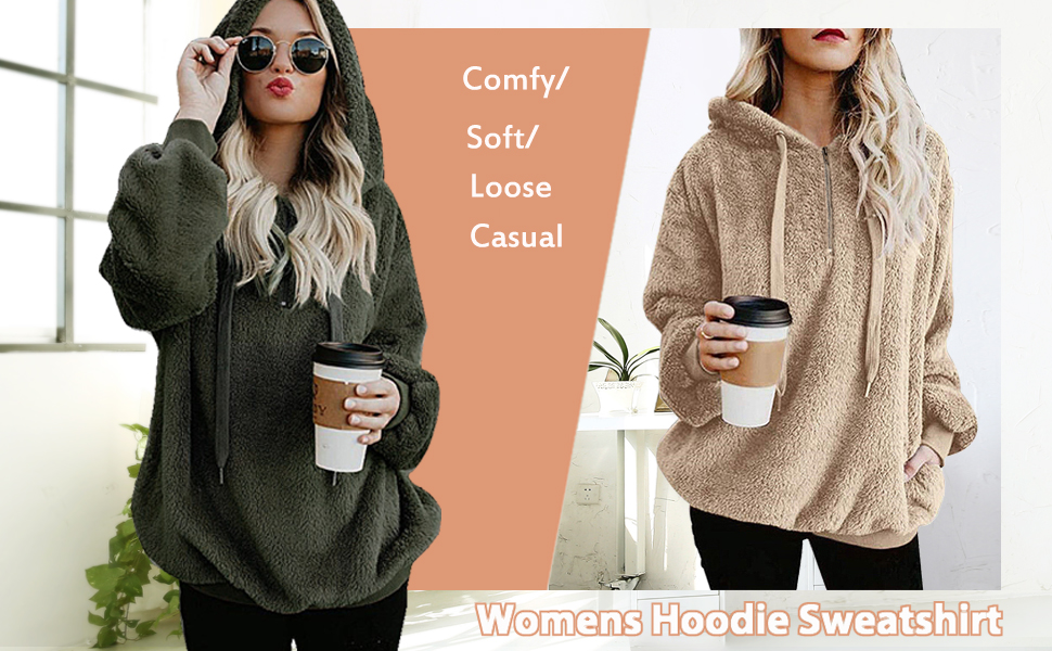 onlypuff Womens Fashion Hoodie Sherpa Warm Tops for Women Casual Loose Fit