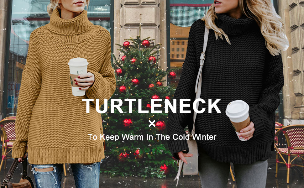 Green Turtleneck Sweater Women