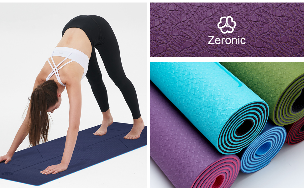 Zeronic Non Slip Yoga Mat Eco Friendly with Body Alignment Lines Exercise Mat with Carrying Rope for Yoga, Pilates and Floor Exercises(72 x 25 x ...
