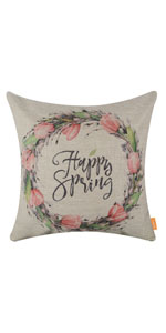 """LINKWELL 18""""x18"""" Season Decoration Holiday Easter Happy Spring Pillow Cover"""