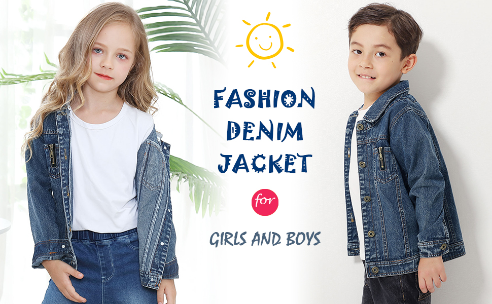 ZFSOCK Girls Denim Jacket with Detachable Hood Boys Loose Fit Jeans Coat Kids Fashion Outwear Age 3 4 5 6 7 8 9 10 Years
