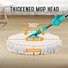 Thickened mop head, strong water absorbing ability, the plastic won't scratch the floor.