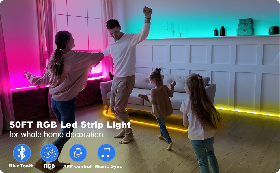 bluetooth led strip lights 50ft