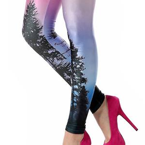 Halloween Purple Blue Pink Stunning Lightning Strike Footless Lycra Tights