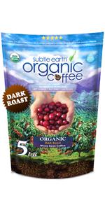 5 LB Subtle Earth Organic Coffee - Dark Roast