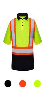 hi vis reflective T shirts for men high visibility class 2 safety work  orange green black shirt