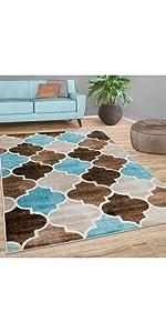 rug blue brown beige