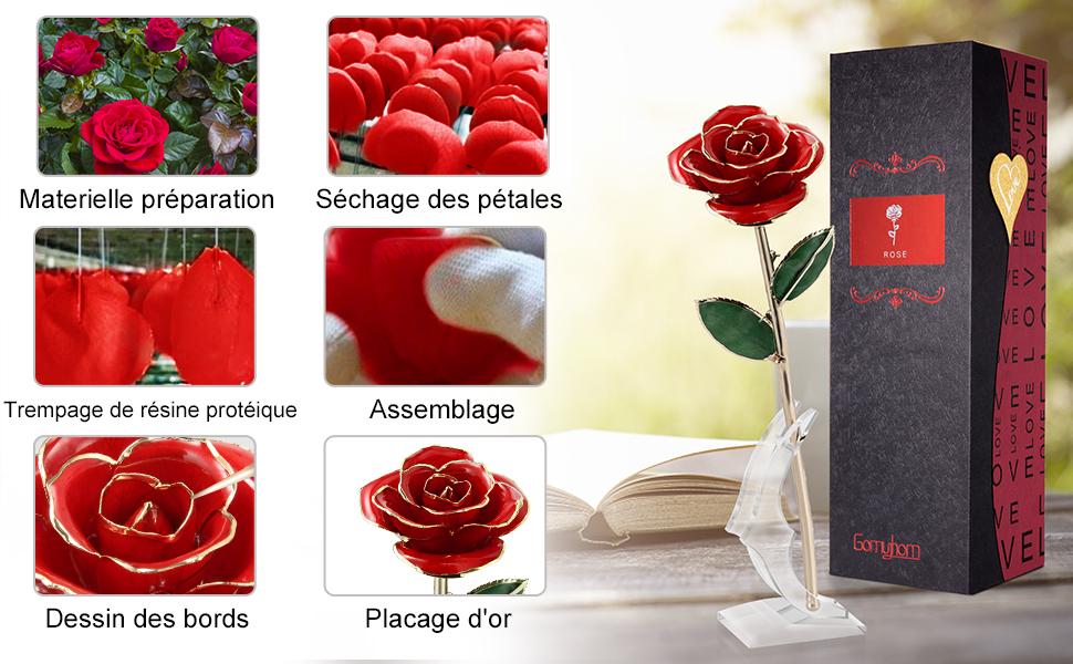 24K Rose Plaqu/é Or Rouge + Supporter F/ête des M/ères Gomyhom Rose Mariage Anniversaire /él/égante Fleur Romantique /éternelle avec Bo/îte Cadeau de Luxe Id/éal pour Amie Saint Valentin