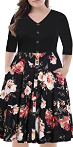 BEDOAR Women's V-Neck Button Down Floral Print Vintage Plus Size A-Line Swing Casual Dress