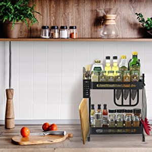 2-Tier Kitchen Spice Rack Utensil Holder