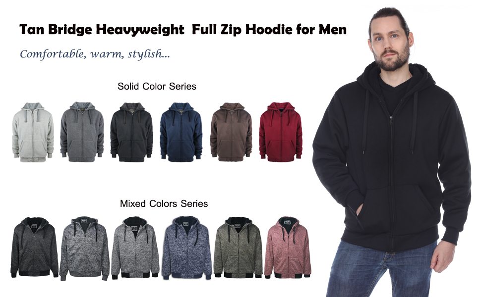 TanBridge Heavyweight Sherpa Lined Plus Sizes Warm Fleece Full Zip Mens Hoodie with Padded Sleeve /& Rib Cuffs