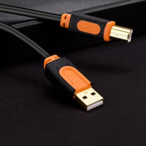 Printer Cable USB 2.0 Type A Male to Type B Male Cable 25FT Black Orange 25foot