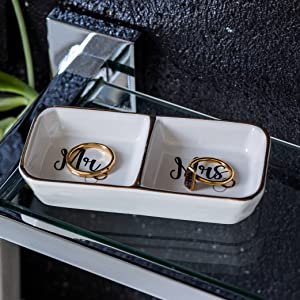 initials ring dish gold ring holder or silver ring holder Set of 2 Matching Ring Dishes for wedding custom bride and groom couple gift