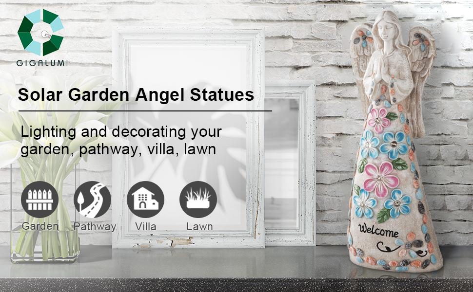 solar garden angel statues