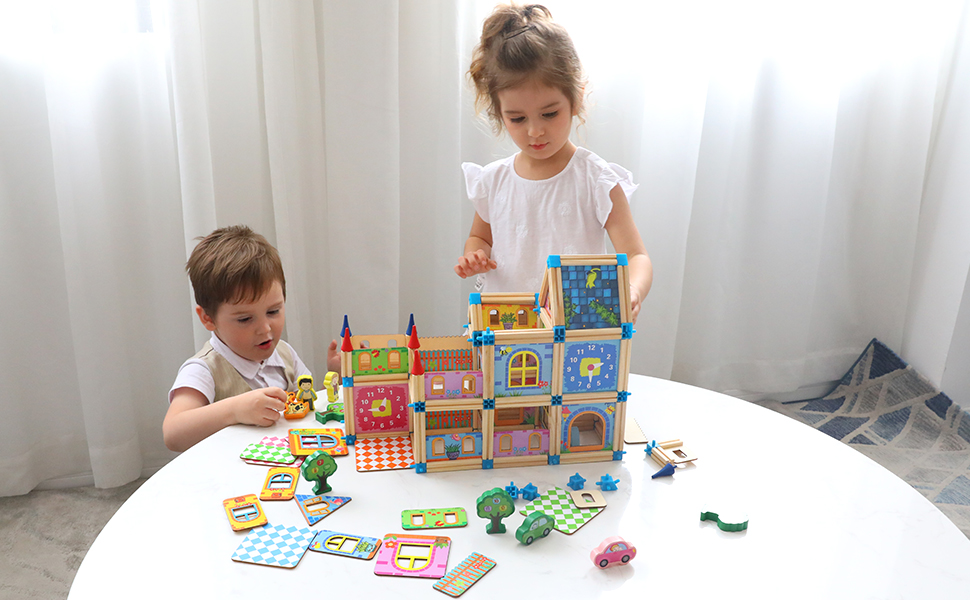 Educational Best Wooden Slot Squares Toddlers Kids Gift Learn Play Child