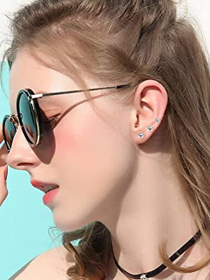 2mm cz stud earrings and ball earrings