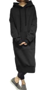 Vestido con capucha para mujer.