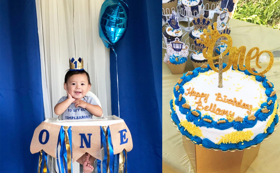 1st birthday boy decorations highchair burlap cake topper one first