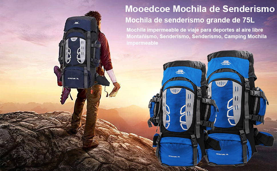 Mooedcoe 75L Mochila Senderismo Tactica Mochila Hombre Impermeable de Trekking Viaje Montaña Acampada Escalada