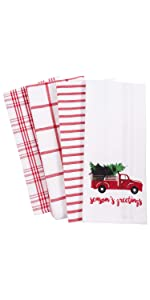 Vintage Red Christmas Truck Holiday White Linen Towels Dishe