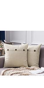 farmhouse linen burlap pillows beige cream white with vintage buttons fall decor
