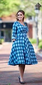 1950s Plaid Swing Dress