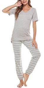 Womens pajamas set cotton striped womens sleepwear nightwear loungewear plus size