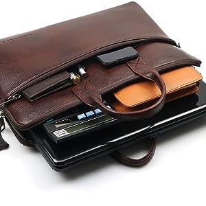Open Leather Laptop Bag Sleek One zipper Compartment Smart Messenger