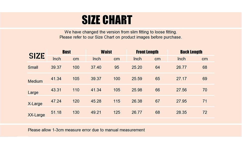 sweater for women size chart