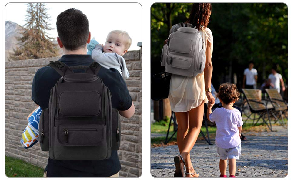 grey diaper bag backpack