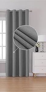 Gray Blackout Linen Look Curtains